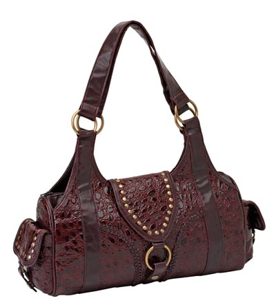 Store Leather Purses on Lupbur01 Solid Leather Burgundy Purse Features Alligator Embossing